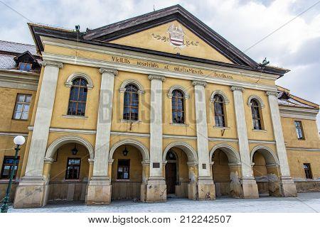 Classicist town redoubt Kezmarok Slovak republic. Architectural theme. Travel destination.
