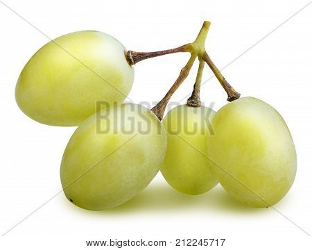 Branch Of Muscat Grape Isolated With Clipping Path