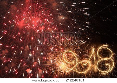 Happy New Year 2018 written with sparklers