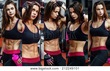 Athletic Young Woman After Hard Workout At Gym. Fitness Girl Holds Shaker With Sportive Nutrition. C