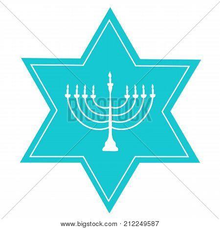 Hand Drawn Blue David Star White Menorah Candle Holder Silhouette. Jewish Hanukkah Holiday Greeting Card Poster Invitation Template. Icon Clean Minimalist Style