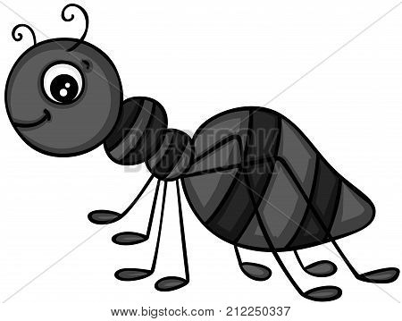 Scalable vectorial image representing a happy black ant, isolated on white.