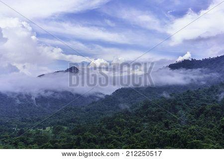 Beautiful nature of upslope fog on mountaintops after raining Nakhon Nayok Thailand