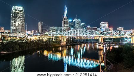 Nashville night skyline along the Cumberland river from the Korean Veterans Blvd bridge