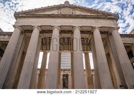 NASHVILLE, TN - OCTOBER 9, 2017: Facade of the Nashville War Memorial Auditorium in Nashville, Tennessee. The auditorium is a 2000 seat performance hall built in 1925.