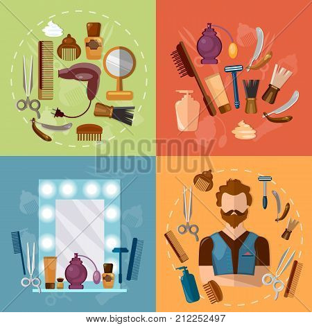 Barbers shop set professional hairdresser barber tools hipster beard sign vector illustration. Barbers shop for man