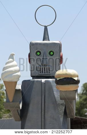 HATCH, NEW MEXICO, JULY 7. Sparkys BBQ and Espresso on July 7, 2017, in Hatch, New Mexico. A Robot Named Sparky at Sparkys BBQ and Espresso a Roadside Attraction in Hatch in New Mexico.