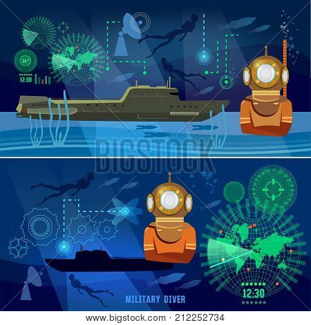 Submarine banners. Modern army. Confrontation between the superpowers. Army submarine underwater diver