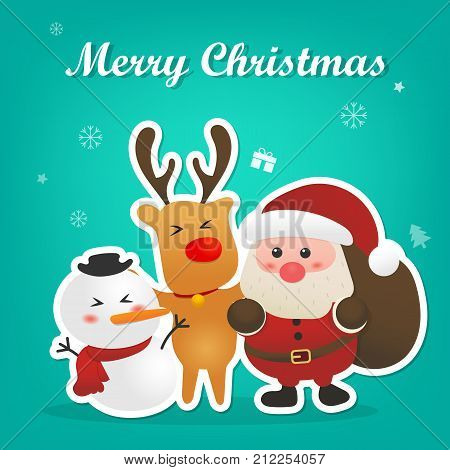 Merry christmas and happy new year with cute santa claus snowman and reindeer with christmas icon background design