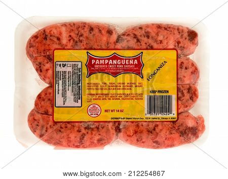 Winneconne WI - 31 October 2017: A package of Pampanguena sausage known as longaniza on an isolated background.