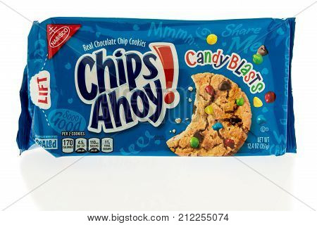 Winneconne WI - 31 October 2017: A package of Chips Ahoy with candy blasts on an isolated background.