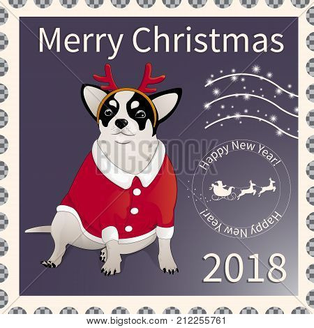 Postage stamp with a chihuahua dog dressed as Santa Claus. Symbol of the New Year 2018 and Christmas, according to the Eastern calendar. On a pixel  background with snowflakes. Vector illustration.