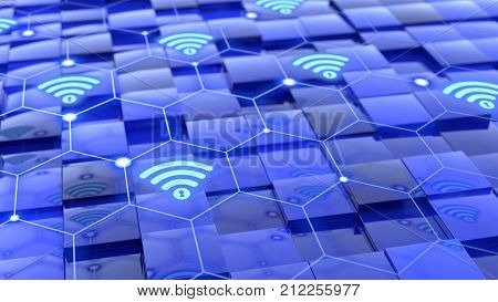 Grid with secure wifi network floating above blue cubes with different height cybersecurity concept 3D illustration