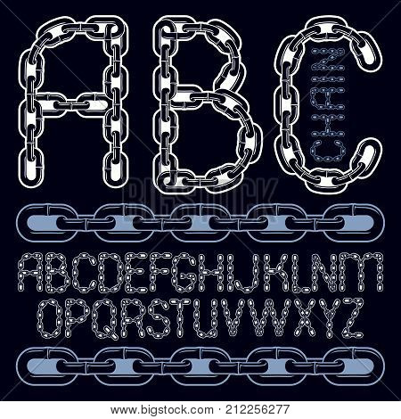 Vector Script, Modern Alphabet Letters Set. Capital Decorative Font Created Using Chrome Chain, Link