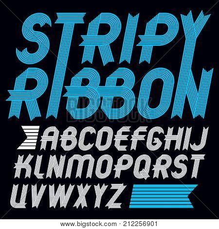 Set Of Trendy Vector Capital Alphabet Letters Isolated. Geometric Italic Bold Type Font, Script From