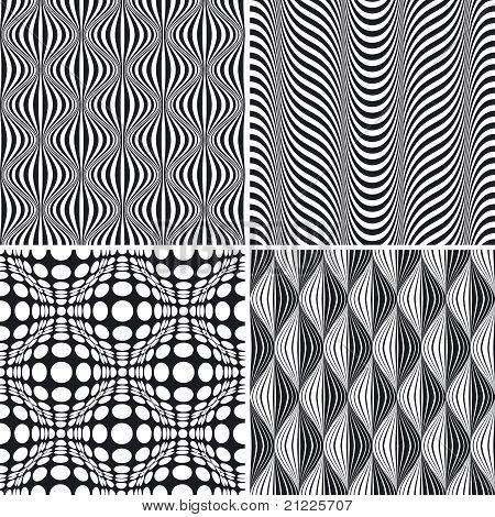 Seamless Op Art Background Pattern Set