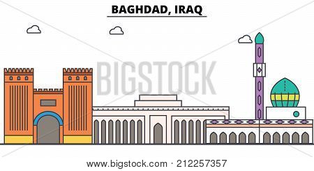 Baghdad, Iraq outline skyline, arab flat thin line icons, landmarks, illustrations. Baghdad, Iraq cityscape, arab vector travel city banner. Urban silhouette