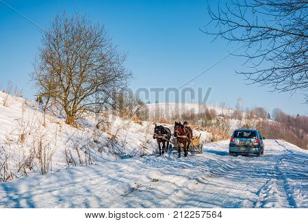 Traffic In Mountainous Rural Area In Winter
