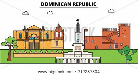 Dominican Republic outline skyline, dominican flat thin line icons, landmarks, illustrations. Dominican Republic cityscape, dominican vector travel city banner. Urban silhouette