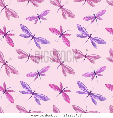 Vector illustration seamless pattern of dragonfly. Background with dragonflies in flight