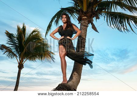 Woman In Beautiful Dress With Leopard Print On The Beach