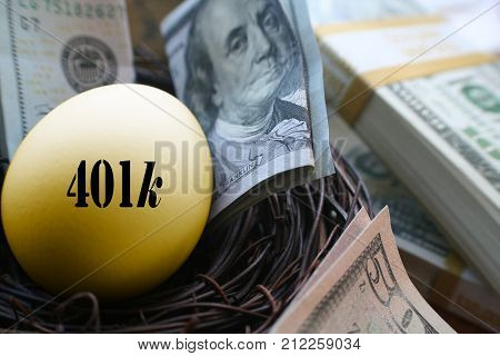 Retirement Photo With Golden 401k Egg Surrounded By Money