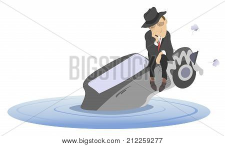Flood, man and sinking car isolated. Upset man sitting on the sinking car