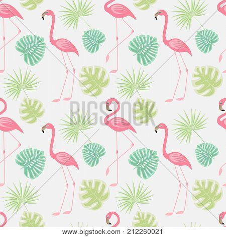 Vector illustration seamless pattern of a pink flamingo. Background with bird flamingos