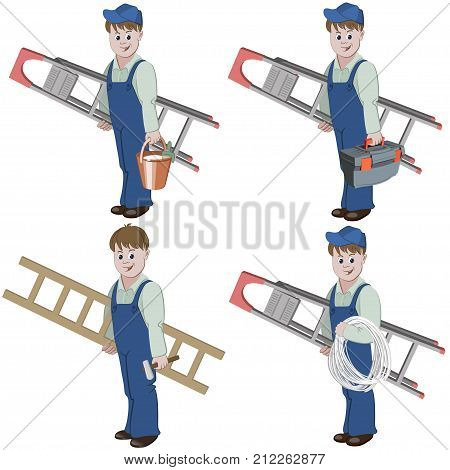 Set of decorator or handyman with equipment for repair such as basket of glue, ladder, cable, hammer, toolbox