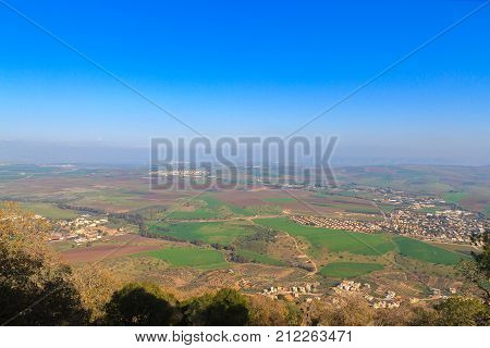 A wide view from Mount Tabor to Galilee towards Lake Kinneret