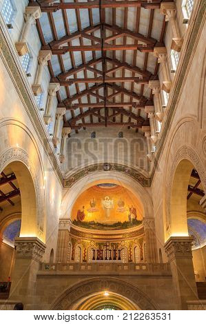 Mount Tabor/israel - 07 January 2012: Interior Of Church In Monastery At Mount Tabor