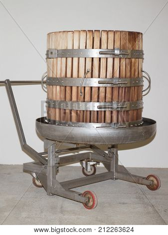 Wine Press Isolated Traditional Old Technique Of Wine-making