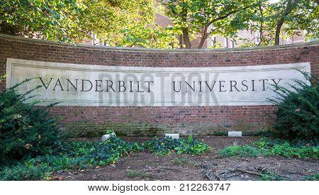 NASHVILLE, TN - OCTOBER 9, 2017: Sign at the entrance to Vanderbilt University in Nashville, Tennessee