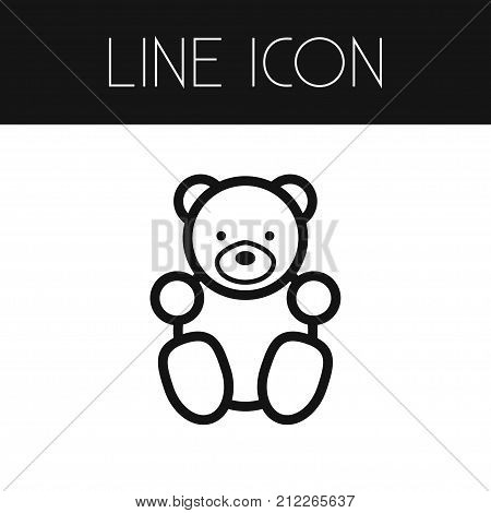 Toy Vector Element Can Be Used For Toy, Teddy, Bear Design Concept.  Isolated Teddy Bear Outline.