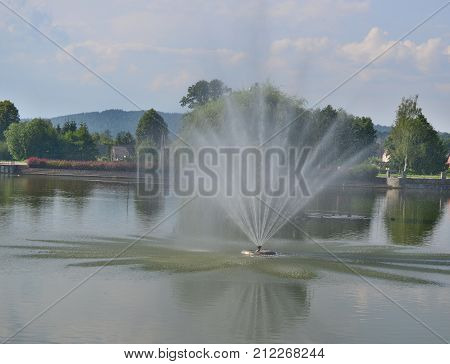 view of fountain spa park Kudowa Zdroj Poland