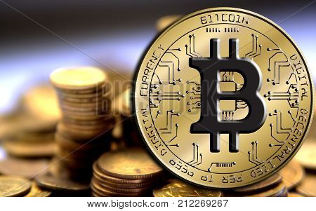 Bitcoin blockchain - bitcoin wallet concept for world wide virtual money electronic payment. Gold Bitcoin isolated on coin background