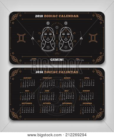 Gemini 2018 year zodiac calendar pocket size horizontal layout Double side black color design style vector concept illustration.