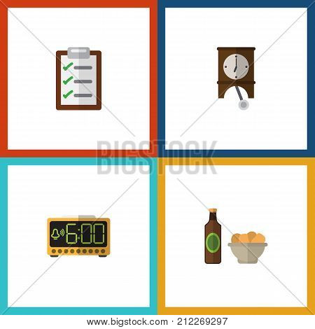 Flat Icon Lifestyle Set Of Beer With Chips, Electric Alarm, Questionnaire And Other Vector Objects