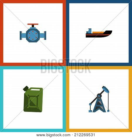 Flat Icon Fuel Set Of Flange, Fuel Canister, Rig And Other Vector Objects