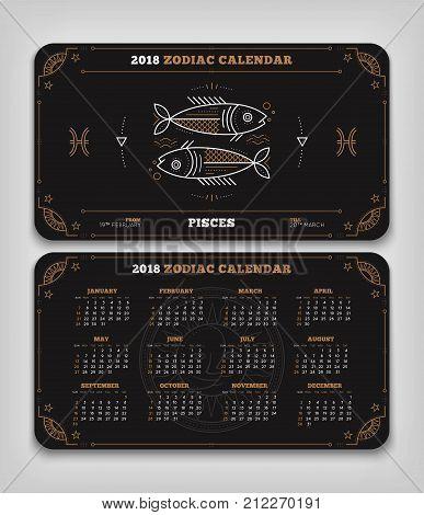 Pisces 2018 year zodiac calendar pocket size horizontal layout Double side black color design style vector concept illustration.