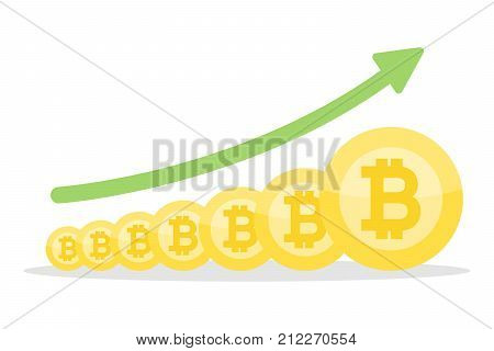 Bitcoin growth concept. From small to big coins. Green arrow.
