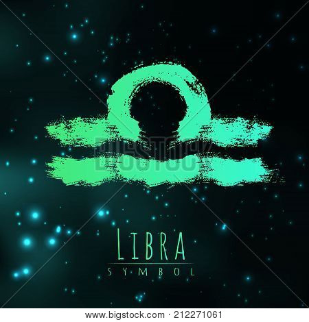 Vector abstract zodiac sign Libra on a dark cosmic background of the space with shining stars. Nebula in form of zodiac sign Libra . Abstract brush stroke sign. Bright modern gradient symbol. Logo.