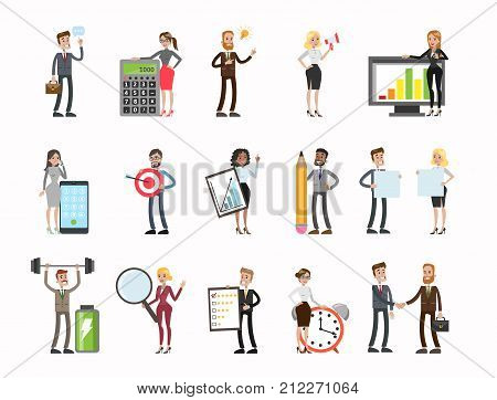 Business people set. men and women working, analysing data, meeting and more.