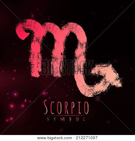 Vector abstract zodiac sign Scorpio on a dark cosmic background of the space with shining stars. Nebula in form of zodiac sign Scorpio . Abstract brush stroke sign. Bright modern gradient symbol. Logo.