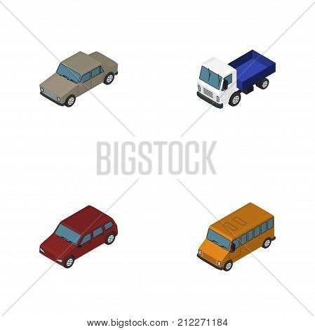 Isometric Car Set Of Autobus, Lorry, Auto And Other Vector Objects