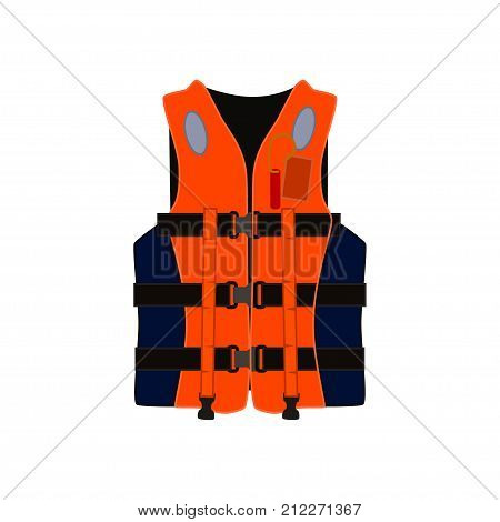 Inflatable life jacket vector illstration isolated on white background.