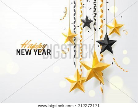 Merry Christmas and 2018 New Year background for holiday greeting card, invitation, party flyer, poster, banner. Gold, black, star, serpentine, realistic confetti on white background.