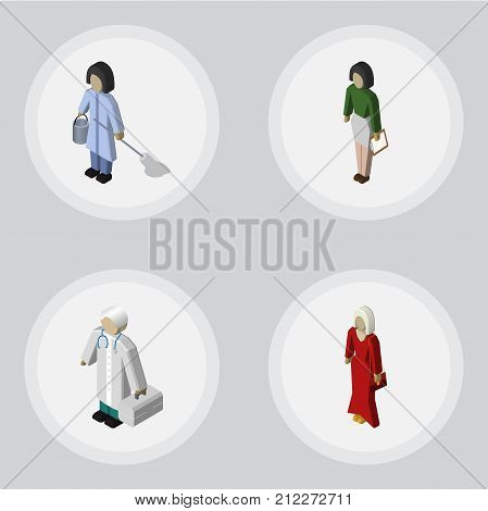 Isometric Human Set Of Pedagogue, Housemaid, Female And Other Vector Objects