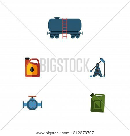 Flat Icon Fuel Set Of Container, Jerrycan, Fuel Canister And Other Vector Objects