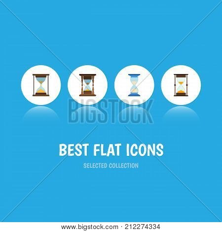 Flat Icon Hourglass Set Of Instrument, Measurement, Minute Measuring And Other Vector Objects